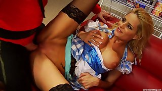 a hard working day for a dude turns to group sex with Chloe Conrad