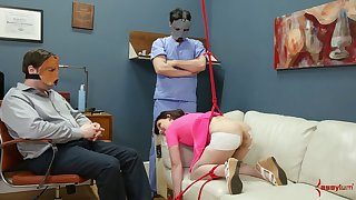 Masked perverts turn a hot coed into a submissive dick loving whore