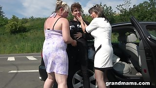 Crazy and wild matures enjoy hardcore outside fuck with a stranger