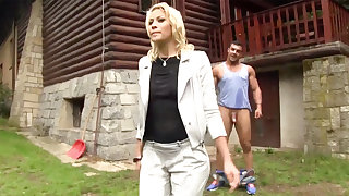 Hard-Core outdoors lovemaking with a half-nude European ultra-cutie