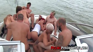 boat trip leads these young lovers to insane orgy out on the sea