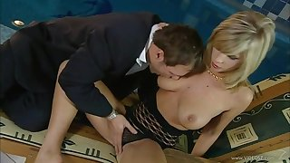 Lustful blonde pornstar with natural tits loves that cock doggystyle anytime of the day