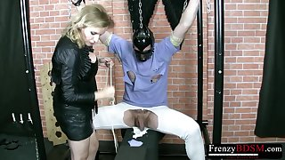Wild dominant whore Dominika treats her tied up buddy with cock jerking