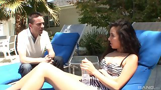 Blowjob by the pool leads to fucking in the bedroom - Mila Jade