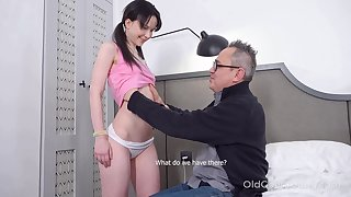 Kinky pigtailed brunette Sweetie Plu is fucked by older man doggy