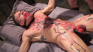 Guy gets waxed and ass fucked by his gay master