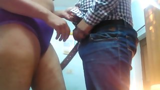 Chubby hubby fucks his fat wife missionary and gets handjob