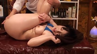 Bikini-clad Asian tart oiled and screwed by a skilled lover