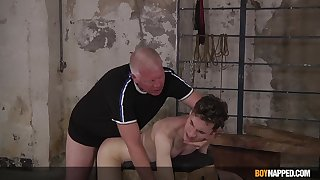 Twink endures senior man's hard wood up the butt hole