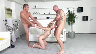 Two guys with hard dicks fuck mouth and tight pussy of a hottie