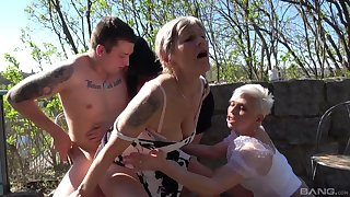 Lucky guy gets blown and fucks Gabrielle and her hot best friends