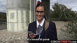 Hot Brunette Stewardess Gets Cash for Sex