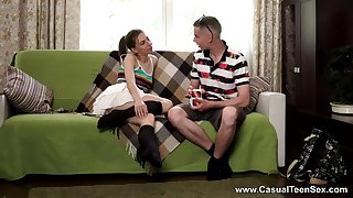 Insolent girl tries the couch for a few rounds of heavy fucking