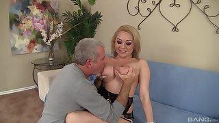Blondie rides the older man until he cums on her boobs