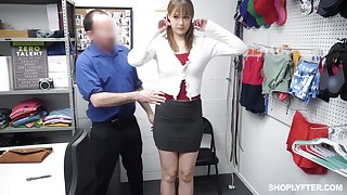 Shoplifting woman gets her mouth and pussy punished