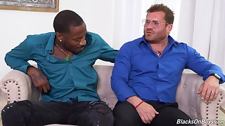 Bearded white man enjoys his dose of BBC in naughty gay play