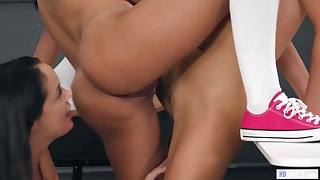 Naughty Lesbian Threesome In The Classroom