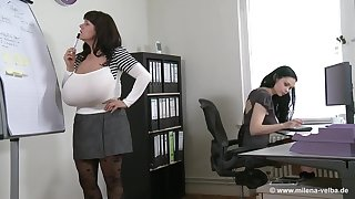 Milena V - euro mom with monster boobs make lesbian love in office