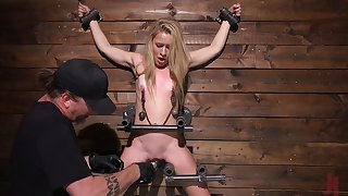 Blonde submissive whore Lilly Lit loves getting abused in bondage