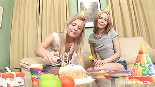 Elly B and another hottie take turns at playing with a dick